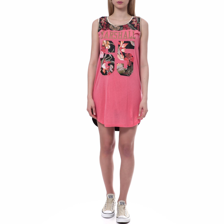 FRANKLIN & MARSHALL - Γυναικείο φόρεμα Franklin & Marshall ροζ γυναικεία ρούχα φορέματα μίνι
