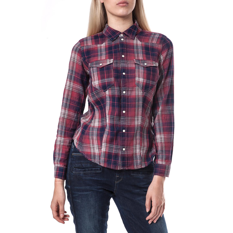 G-STAR RAW - Γυναικείο πουκάμισο G-Star Raw κόκκινο-μπλε γυναικεία ρούχα πουκάμισα μακρυμάνικα