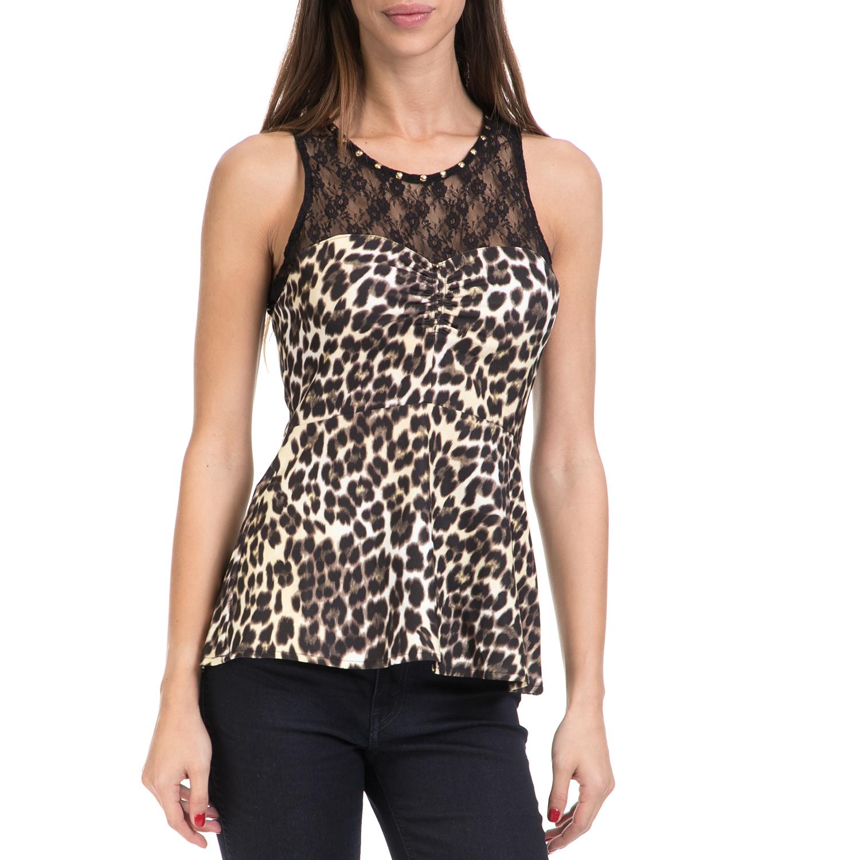 GUESS – Γυναικεία μπλούζα SHELL GUESS μαύρο-λεοπάρ