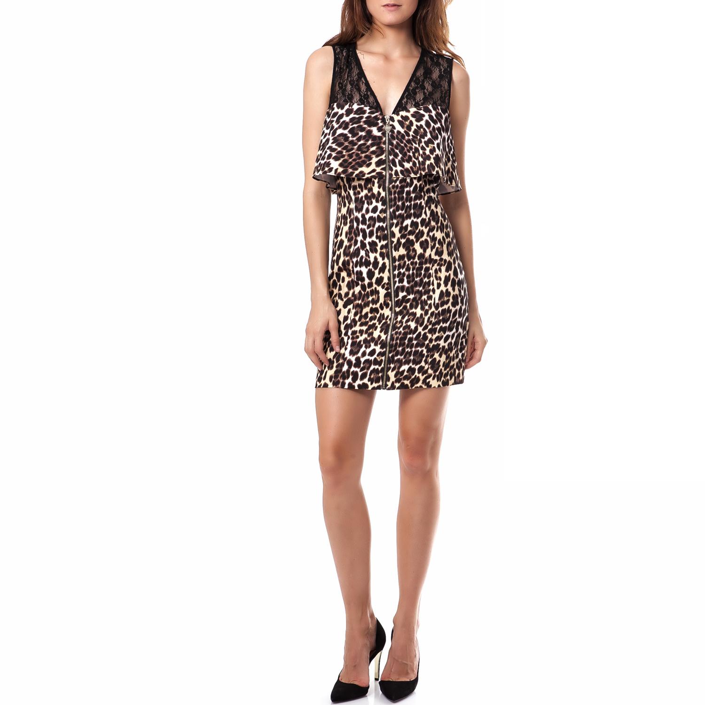 GUESS - Γυναικείο φόρεμα Guess καφέ γυναικεία ρούχα φορέματα μίνι