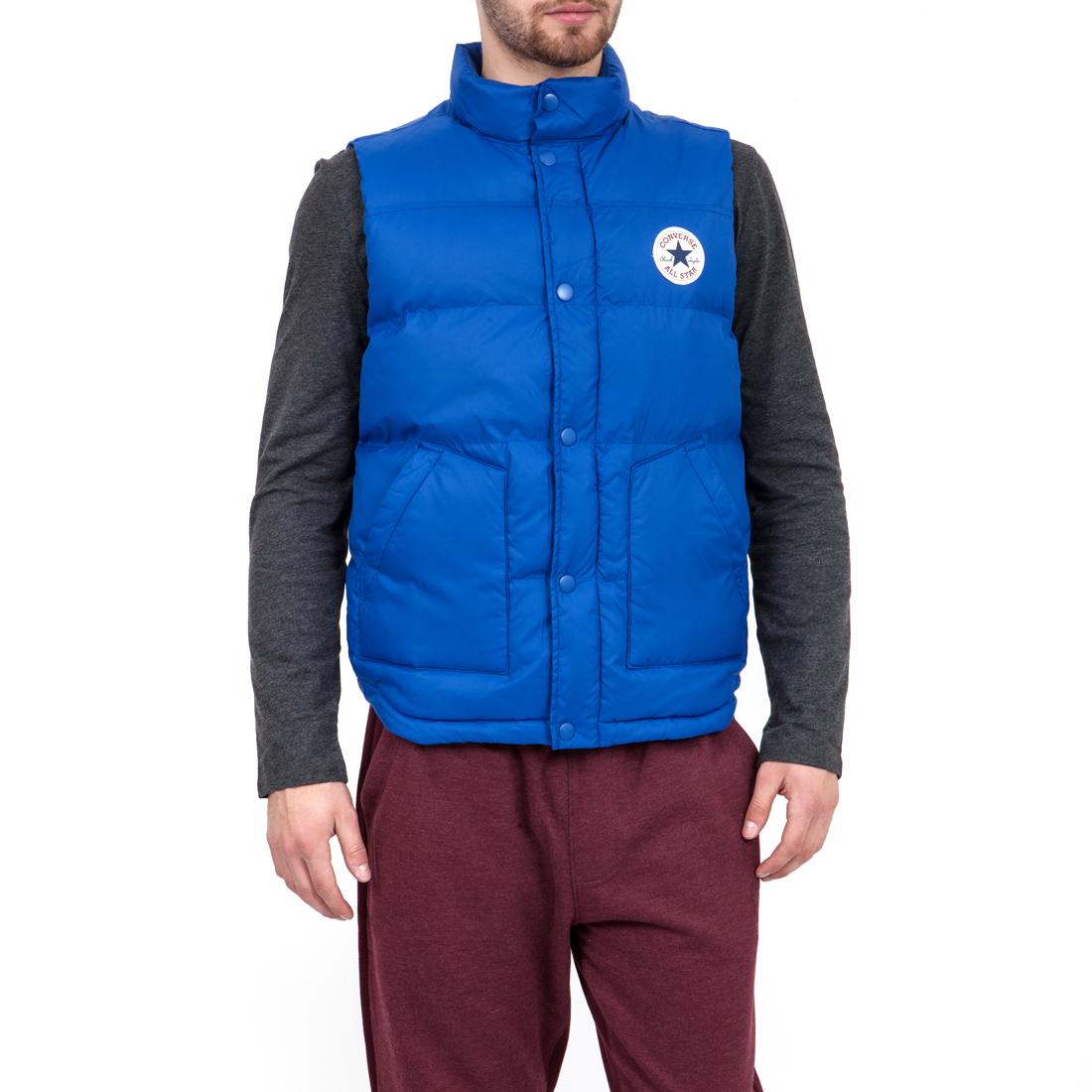 CONVERSE - Ανδρικό μπουφάν Converse μπλε ανδρικά ρούχα πανωφόρια γιλέκα