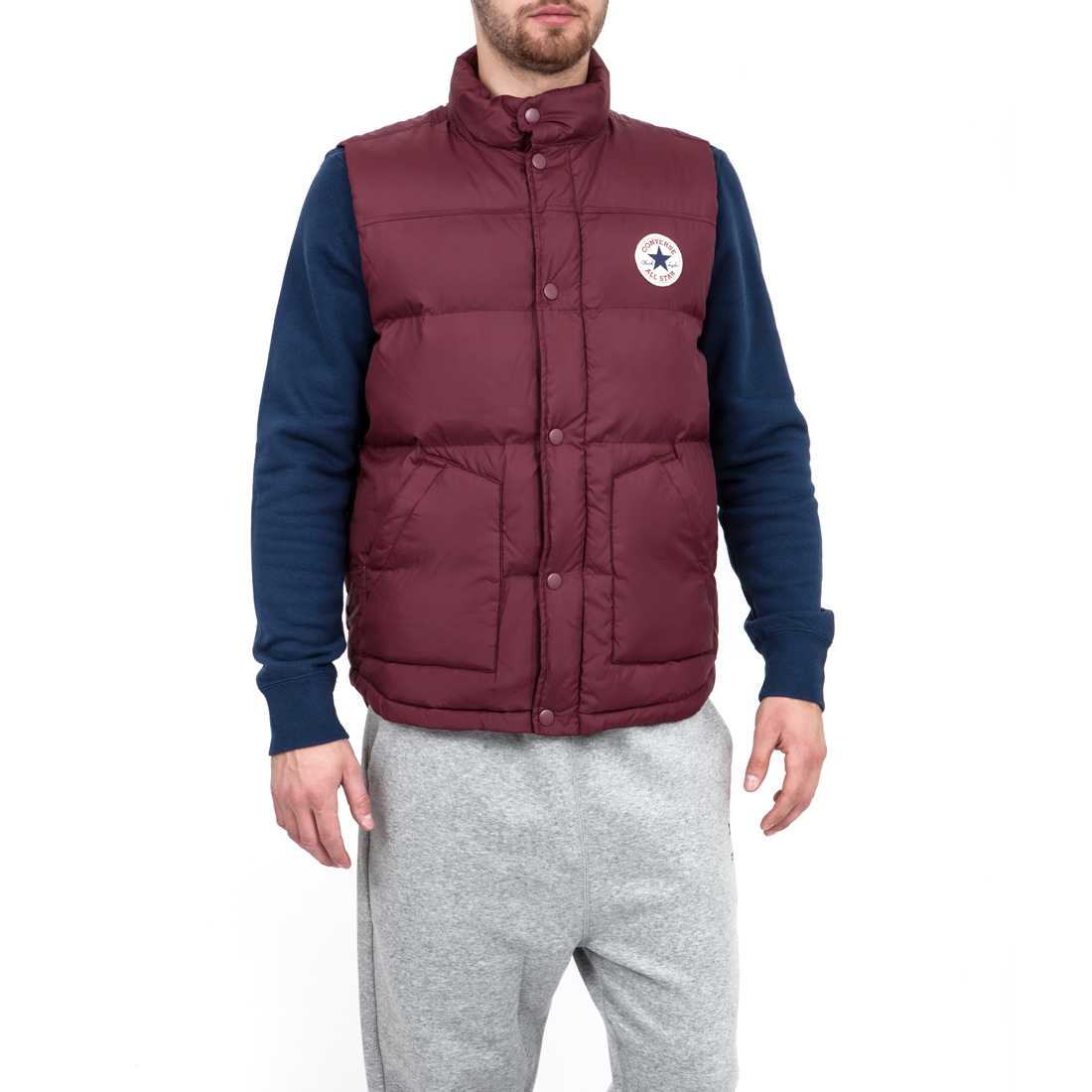 CONVERSE - Ανδρικό μπουφάν Converse μπορντώ ανδρικά ρούχα πανωφόρια γιλέκα