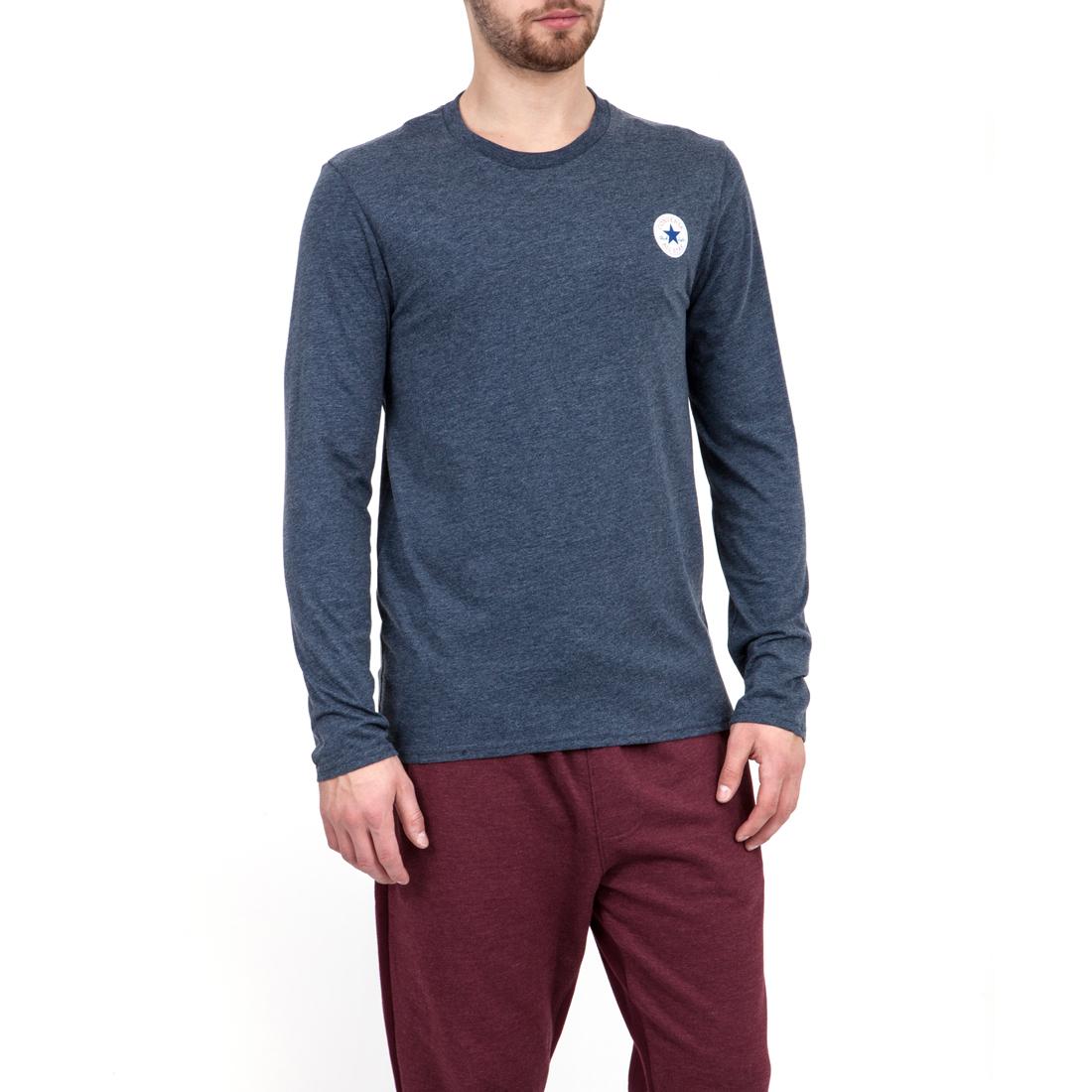 CONVERSE - Ανδρική μπλούζα Converse μπλε ανδρικά ρούχα αθλητικά φούτερ μακρυμάνικα