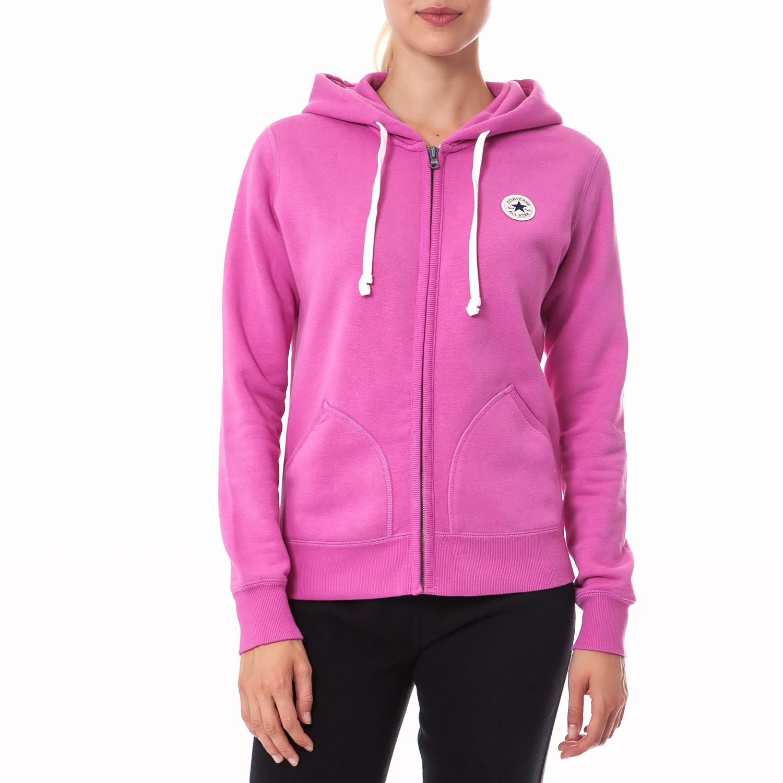 CONVERSE - Γυναικεία ζακέτα Converse ροζ γυναικεία ρούχα φούτερ ζακέτες