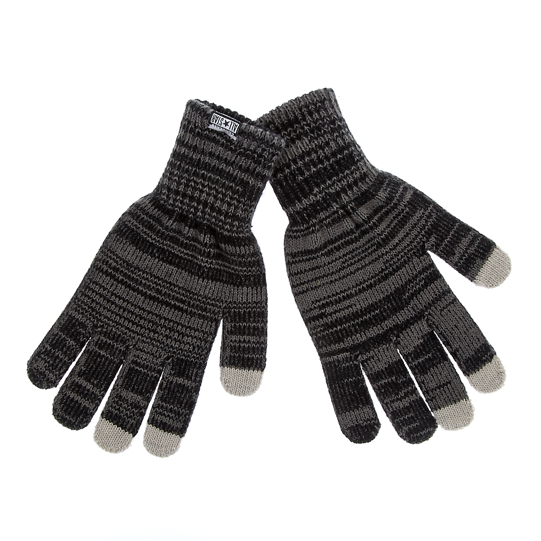 CONVERSE - Unisex γάντια Converse γκρι-μαύρα ανδρικά αξεσουάρ φουλάρια κασκόλ γάντια