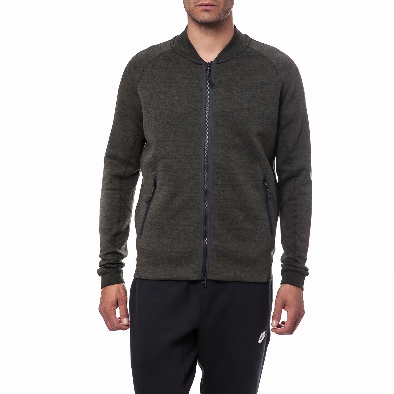 NIKE - Ανδρική ζακέτα Nike χακί ανδρικά ρούχα αθλητικά φούτερ μακρυμάνικα