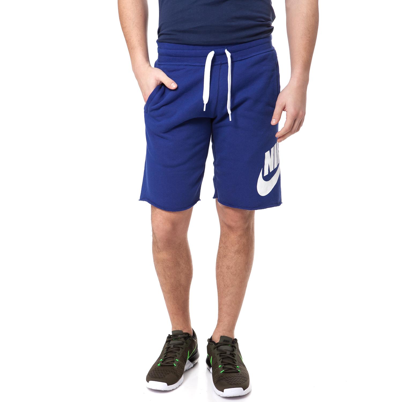 NIKE - Ανδρική βερμούδα NIKE AW77 FT ALUMNI μπλε ανδρικά ρούχα σορτς βερμούδες αθλητικά