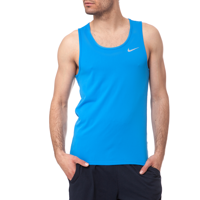 NIKE - Ανδρικό φανελάκι NIKE DRI-FIT CONTOUR τυρκουάζ ανδρικά ρούχα αθλητικά t shirt