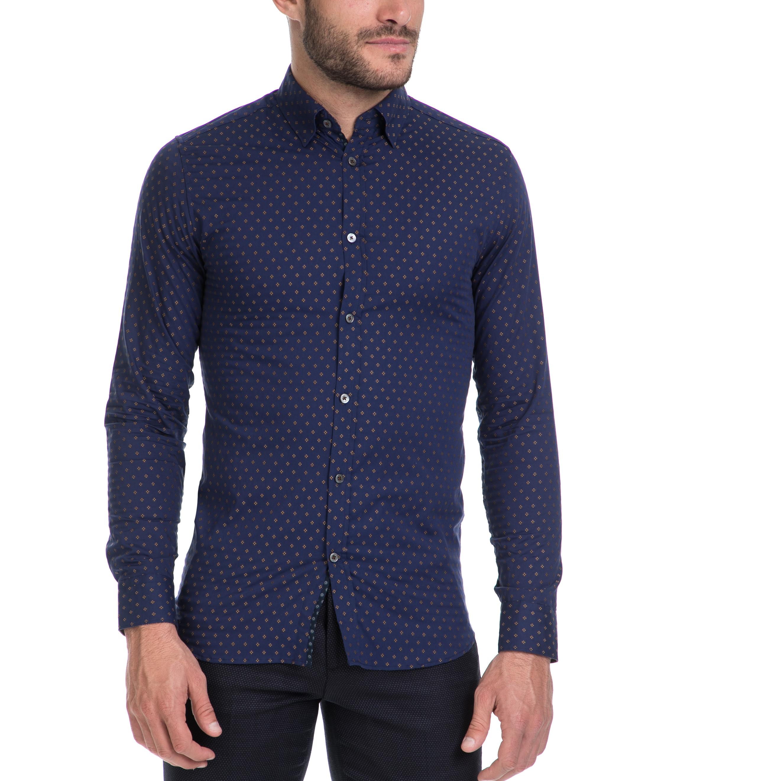 TED BAKER - Ανδρικό πουκάμισο FILLIPS TED BAKER μπλε ανδρικά ρούχα πουκάμισα μακρυμάνικα