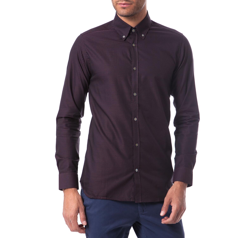 TED BAKER - Ανδρικό πουκάμισο Ted Baker μπορντώ ανδρικά ρούχα πουκάμισα μακρυμάνικα