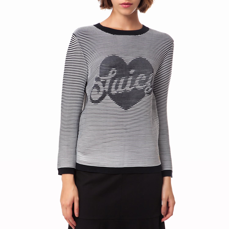 JUICY COUTURE - Γυναικείο πουλόβερ Juicy Couture λευκό-μαύρο γυναικεία ρούχα πλεκτά ζακέτες πουλόβερ