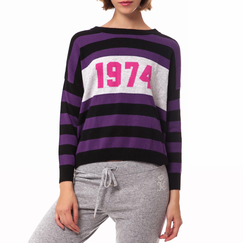 JUICY COUTURE - Γυναικείο πουλόβερ Juicy Couture μωβ-μαύρο γυναικεία ρούχα πλεκτά ζακέτες πουλόβερ