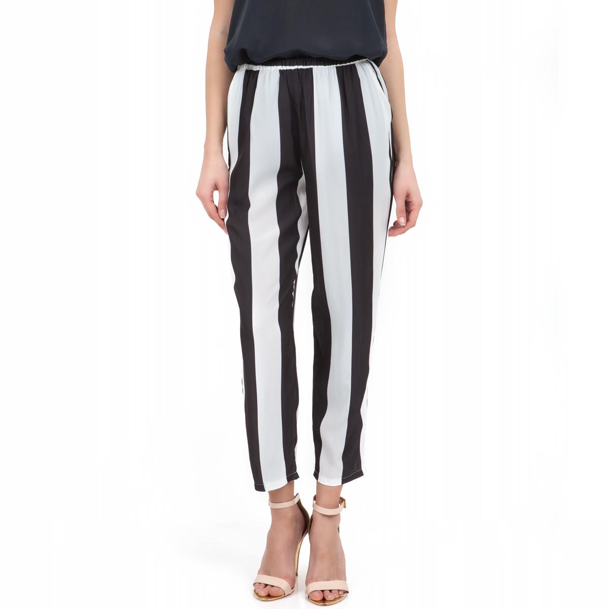 AMERICAN VINTAGE - Γυναικείο παντελόνι American Vintage λευκό-μαύρο γυναικεία ρούχα παντελόνια casual