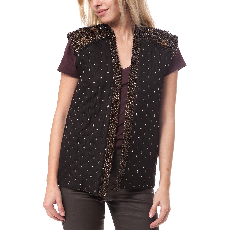 MAISON SCOTCH - Γυναικείο γιλέκο Maison Scotch μαύρο γυναικεία ρούχα πανωφόρια αμάνικα μπουφάν