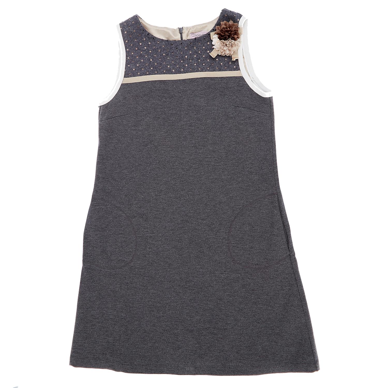 MONNALISA - Παιδικό φόρεμα Monnalisa γκρι παιδικά girls ρούχα φορέματα