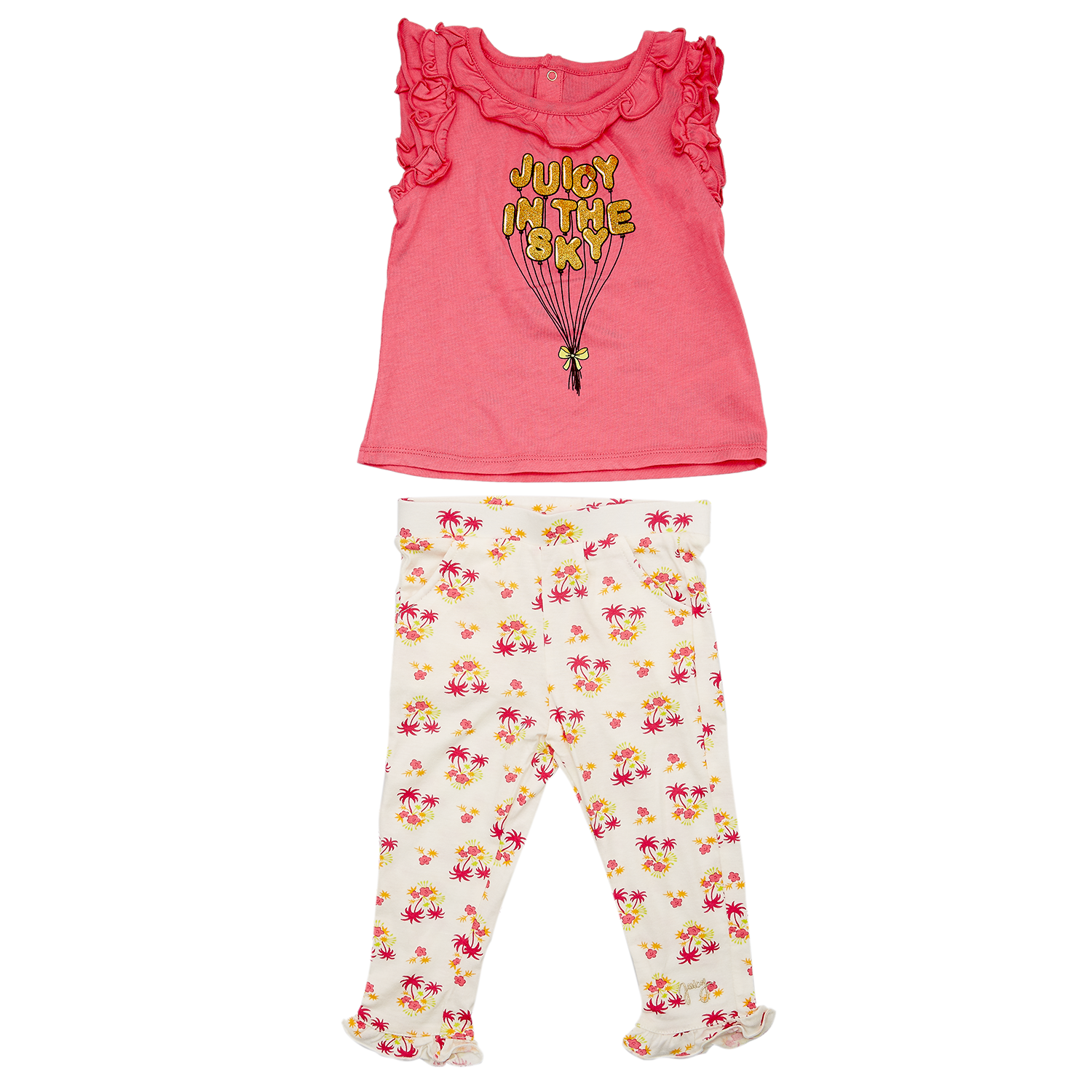 JUICY COUTURE KIDS – Βρεφικό σετ JUICY COUTURE λευκό-φούξια