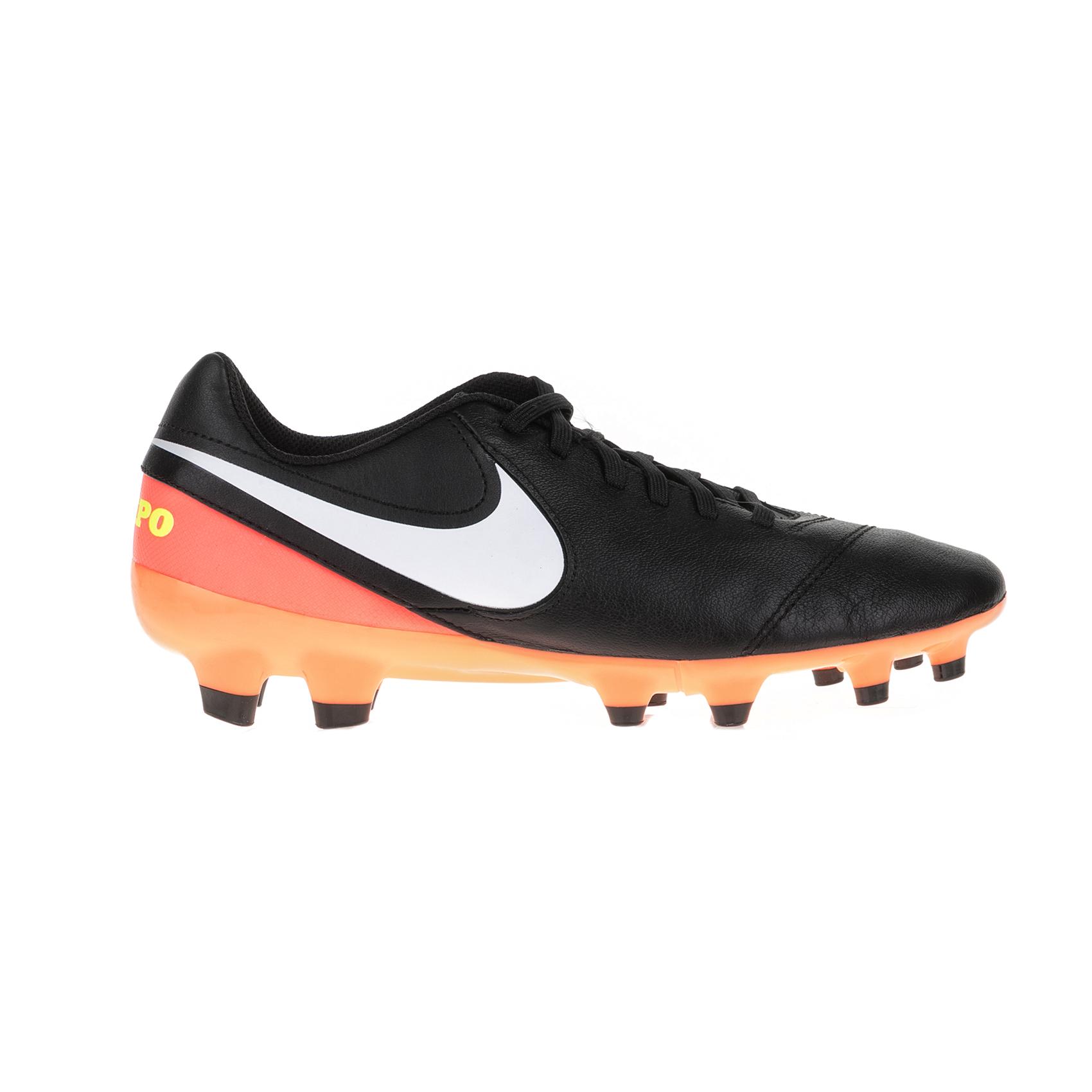 NIKE – Ανδρικά παπούτσια ποδοσφαίρου Nike TIEMPO GENIO II LEATHER FG μαύρα – πορτοκαλί