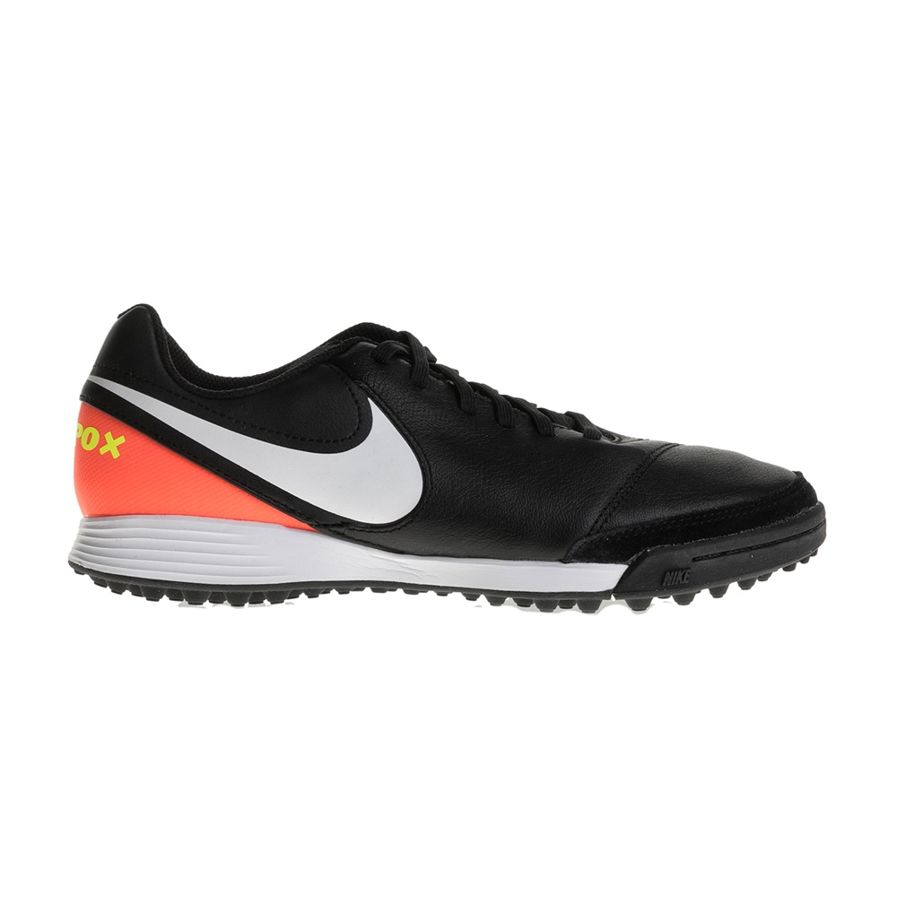 NIKE – Ανδρικά παπούτσια ποδοσφαίρου Nike TIEMPOX GENIO II LEATHER TF μαύρα – πορτοκαλί