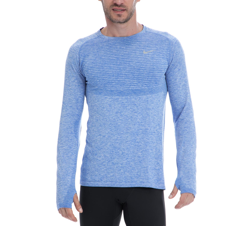 NIKE - Αντρική μπλούζα NIKE μπλε ανδρικά ρούχα αθλητικά φούτερ μακρυμάνικα