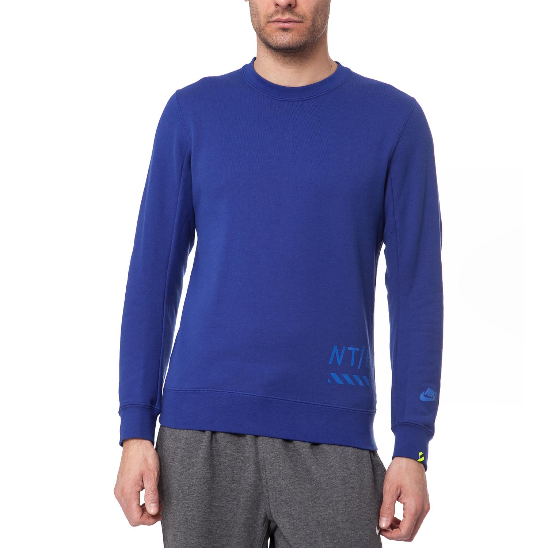 NIKE - Ανδρική μπλούζα Nike μπλε ανδρικά ρούχα αθλητικά φούτερ μακρυμάνικα