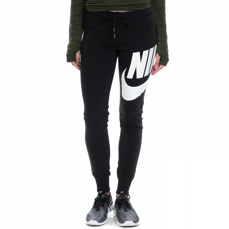 NIKE - Γυναικεία φόρμα NIKE RALLY PANT-TIGHT EXPLODED μαύρη-λευκή γυναικεία ρούχα αθλητικά φόρμες
