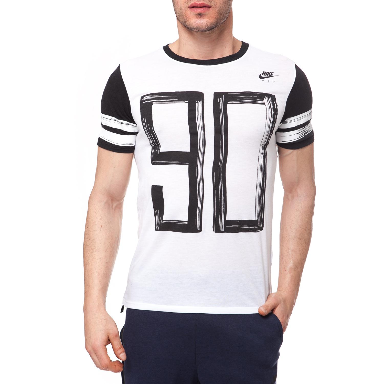 NIKE - Ανδρική μπλούζα NIKE λευκή-μαύρη ανδρικά ρούχα αθλητικά t shirt