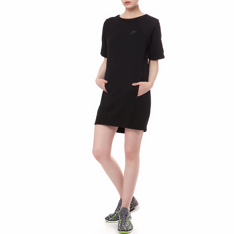 NIKE - Φόρεμα NIKE TECH FLEECE MESH μαύρο γυναικεία ρούχα φορέματα μίνι