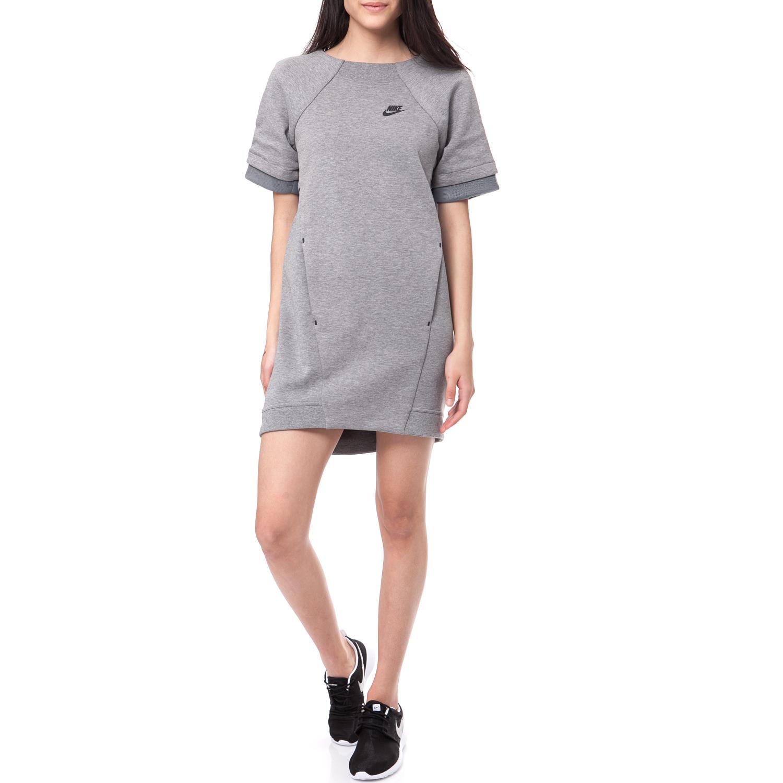 NIKE - Φόρεμα Nike TECH FLEECE DRESS-MESH γκρι μελανζέ γυναικεία ρούχα φορέματα μίνι