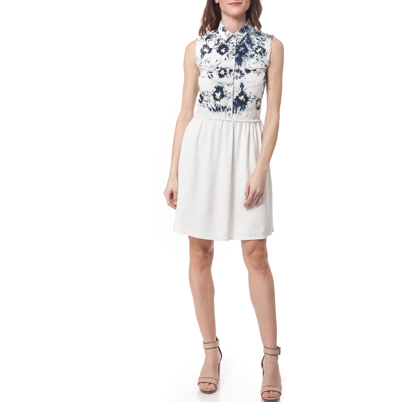 GAS - Γυναικείο φόρεμα Gas μπλε-εκρού γυναικεία ρούχα φορέματα μίνι