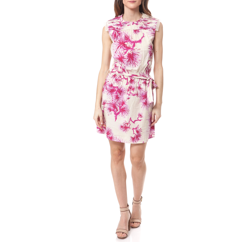 GAS - Γυναικείο φόρεμα Gas λευκό-εκρού-φούξια γυναικεία ρούχα φορέματα μίνι