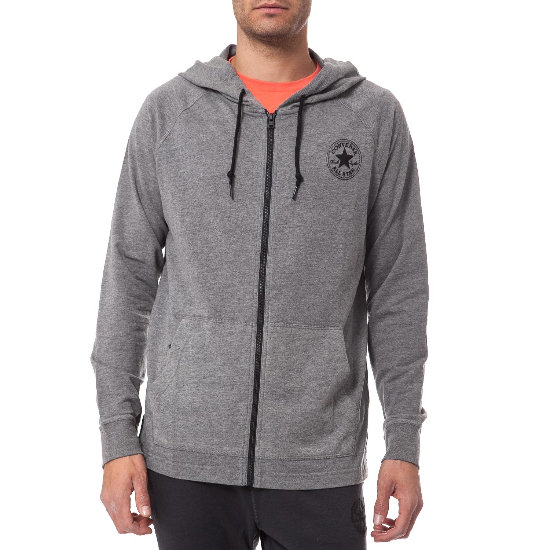 CONVERSE - Ανδρική ζακέτα Converse γκρι ανδρικά ρούχα αθλητικά φούτερ μακρυμάνικα