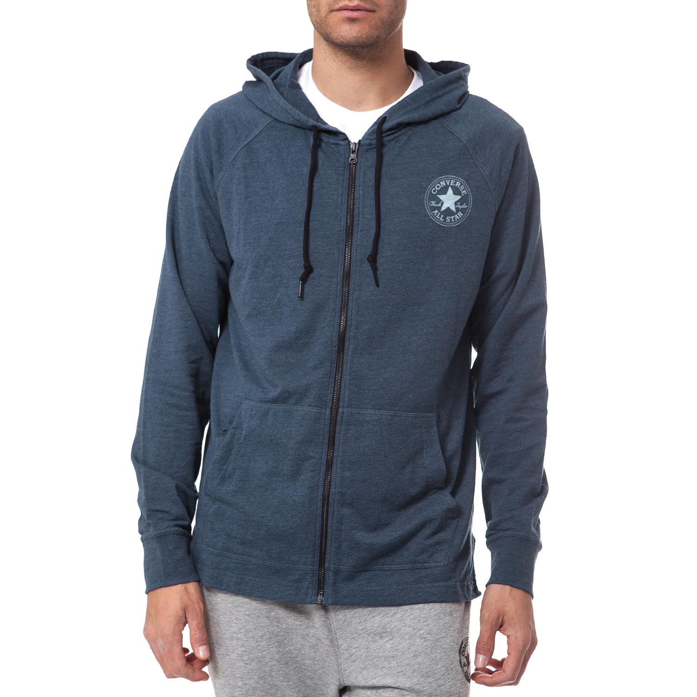CONVERSE - Ανδρική ζακέτα Converse μπλε ανδρικά ρούχα αθλητικά φούτερ μακρυμάνικα