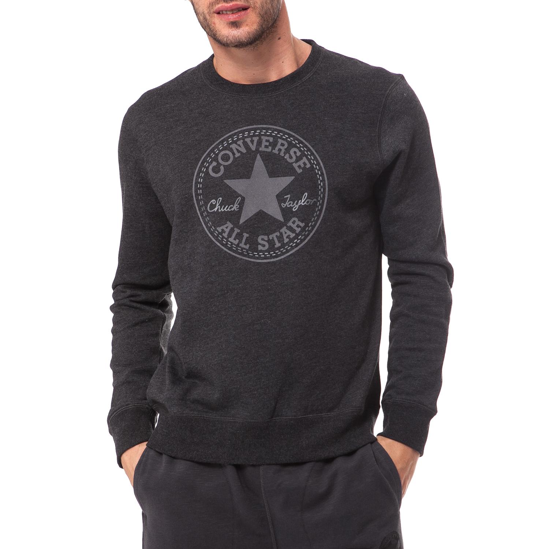 CONVERSE - Ανδρικό φούτερ Converse μαύρο ανδρικά ρούχα αθλητικά φούτερ μακρυμάνικα