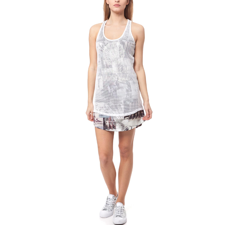 FRANKLIN & MARSHALL - Γυναικείο φόρεμα Franklin & Marshall λευκό γυναικεία ρούχα φορέματα μίνι
