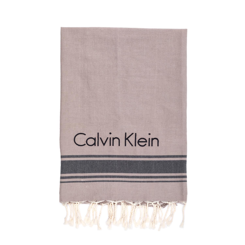 CK UNDERWEAR - Πετσέτα θαλάσσης Calvin Klein μπεζ γυναικεία αξεσουάρ πετσέτες