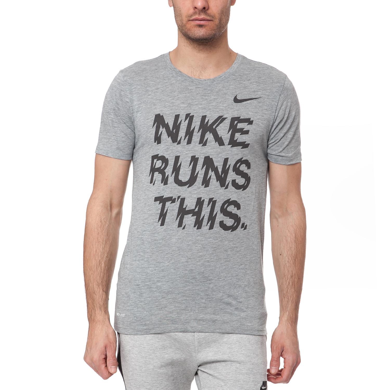 NIKE - Ανδρικό t-shirt NIKE RUN THIS TEE γκρι μελανζέ ανδρικά ρούχα αθλητικά t shirt