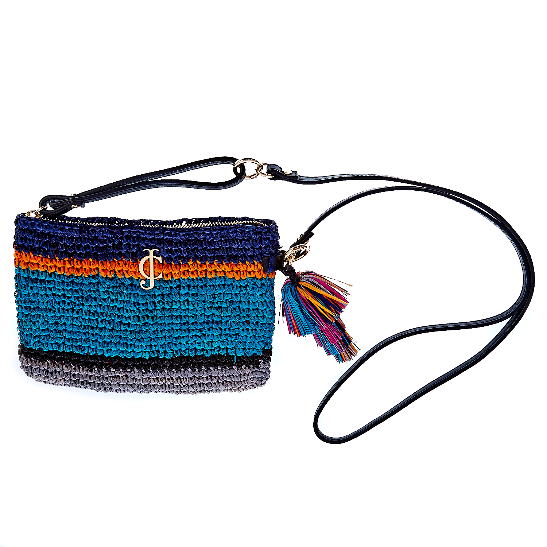 JUICY COUTURE - Γυναικεία τσάντα Juicy Couture μπλε-πορτοκαλί γυναικεία αξεσουάρ τσάντες σακίδια ωμου