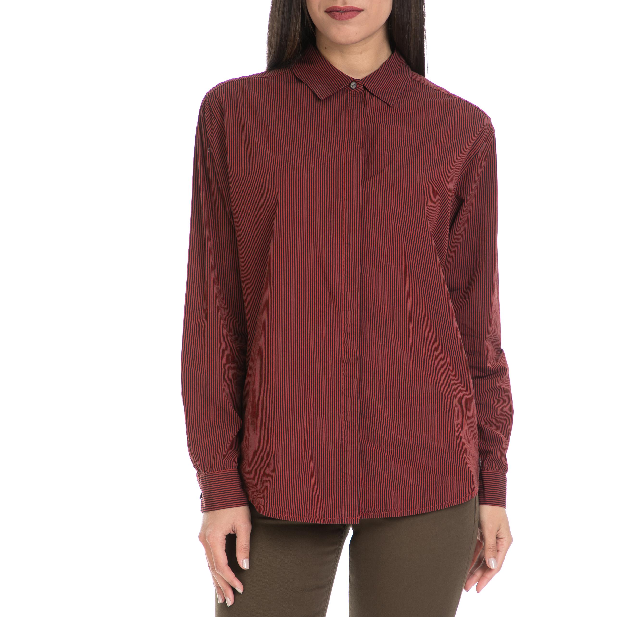 MAISON SCOTCH - Γυναικείο πουκάμισο MAISON SCOTCH μπορντό γυναικεία ρούχα πουκάμισα μακρυμάνικα