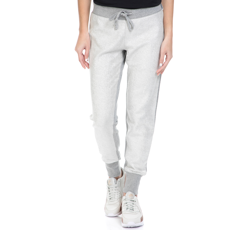 CONVERSE - Γυναικείο παντελόνι φόρμας Converse Metallic Jogger γκρι μελανζέ γυναικεία ρούχα αθλητικά φόρμες