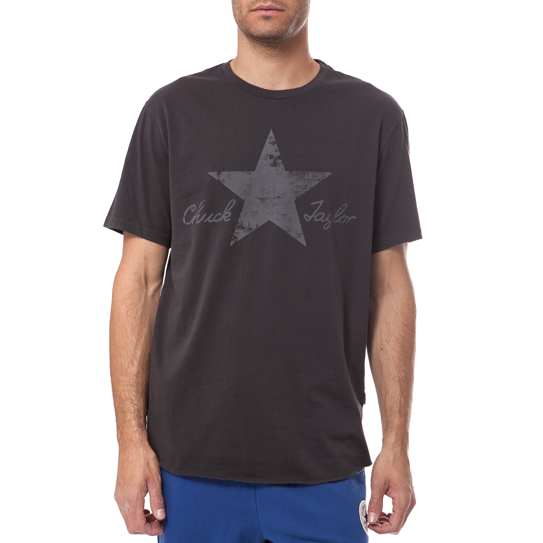 CONVERSE - Ανδρική μπλούζα Converse ανθρακί ανδρικά ρούχα αθλητικά t shirt