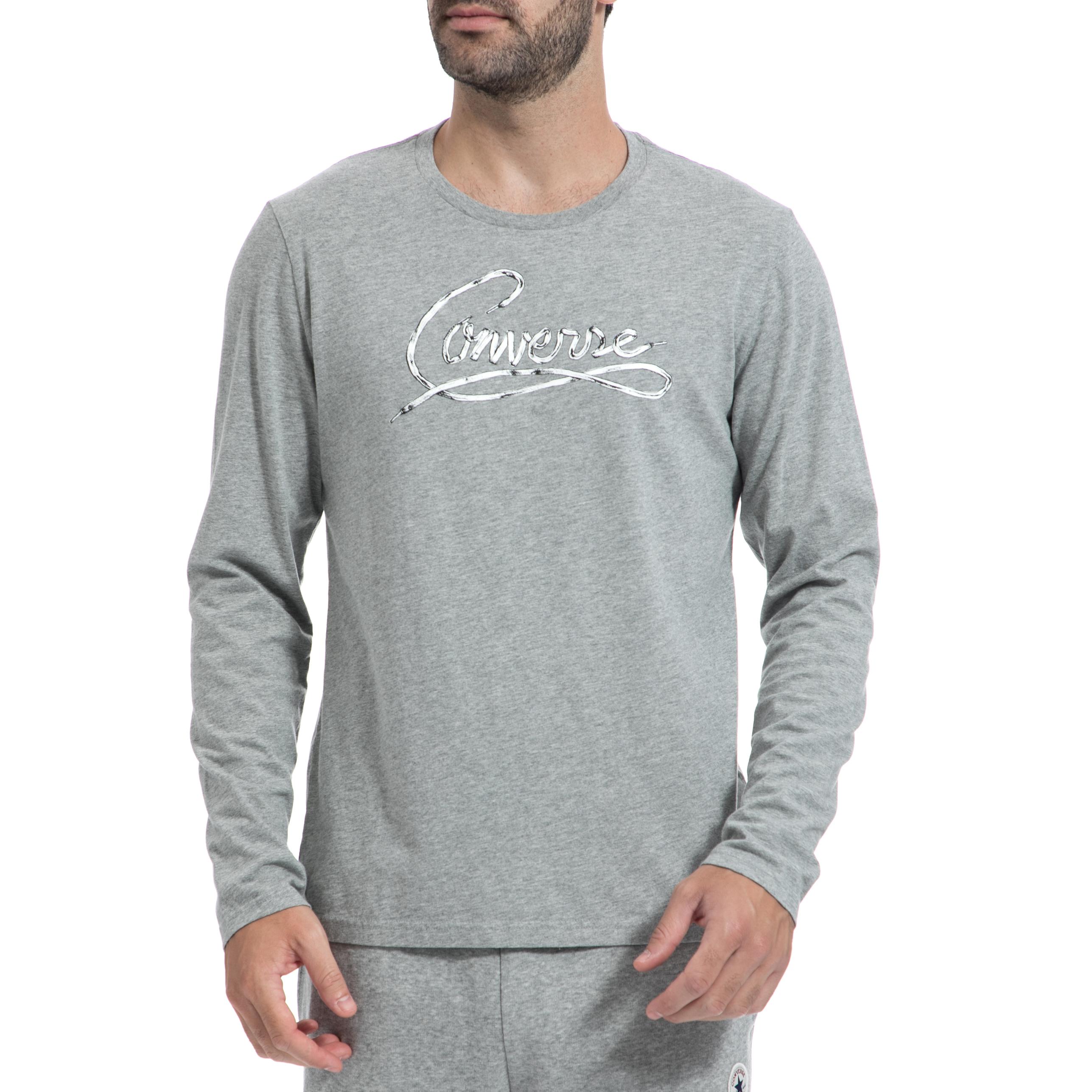 CONVERSE - Ανδρική μπλούζα CONVERSE γκρι ανδρικά ρούχα αθλητικά φούτερ μακρυμάνικα