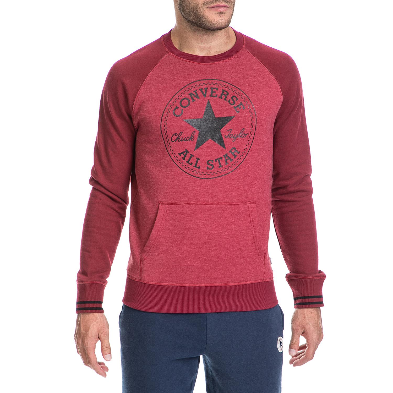 CONVERSE - Ανδρική φούτερ μπλούζα CORE EXT TIPPED CONVERSE κόκκινη ανδρικά ρούχα αθλητικά φούτερ μακρυμάνικα