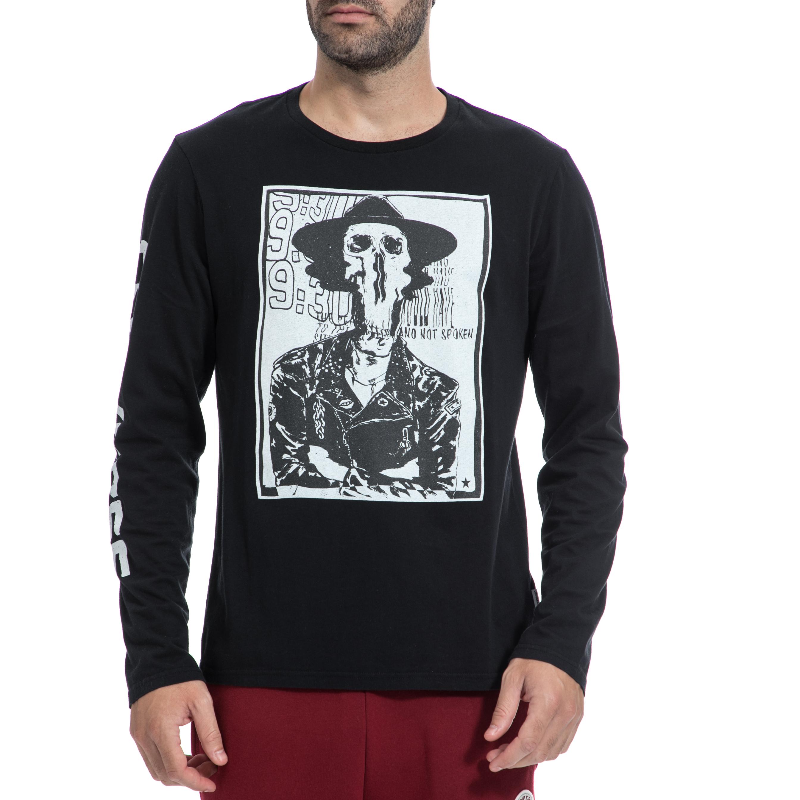 CONVERSE - Ανδρική μπλούζα CONVERSE μαύρη ανδρικά ρούχα αθλητικά φούτερ μακρυμάνικα