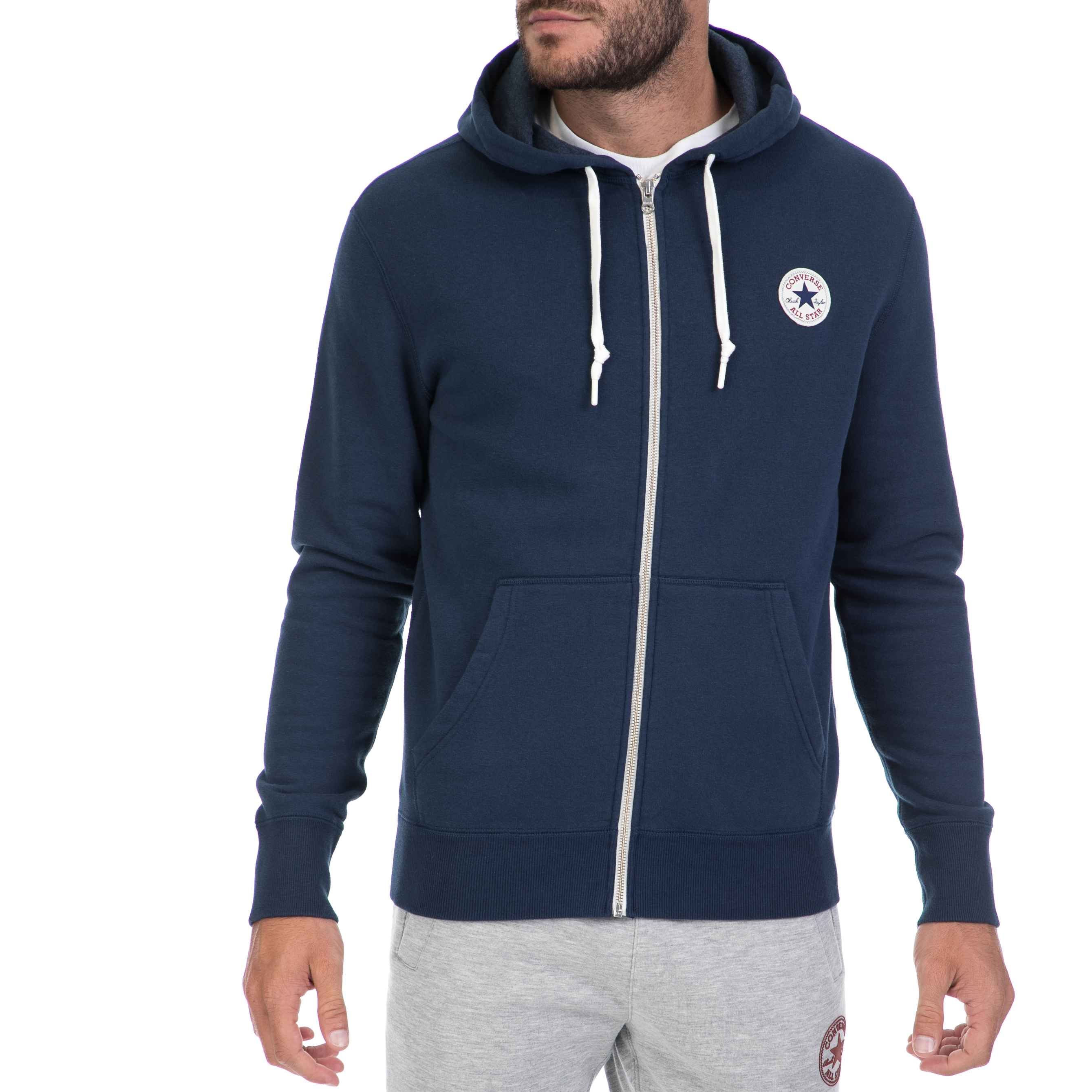 CONVERSE - Αντρική ζακέτα CONVERSE μπλε ανδρικά ρούχα αθλητικά φούτερ μακρυμάνικα