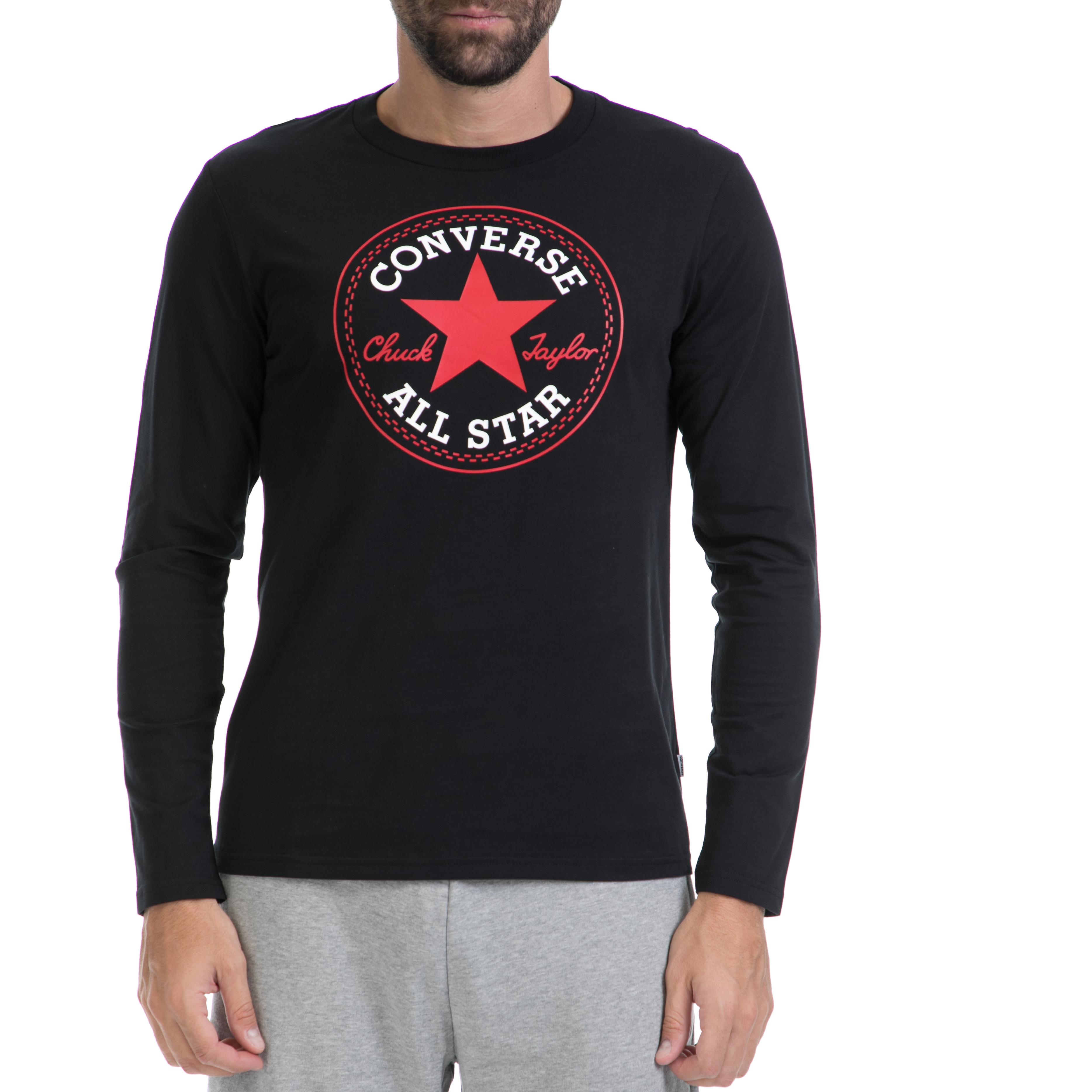 CONVERSE - Αντρική μπλούζα CONVERSE μαύρη ανδρικά ρούχα αθλητικά φούτερ μακρυμάνικα