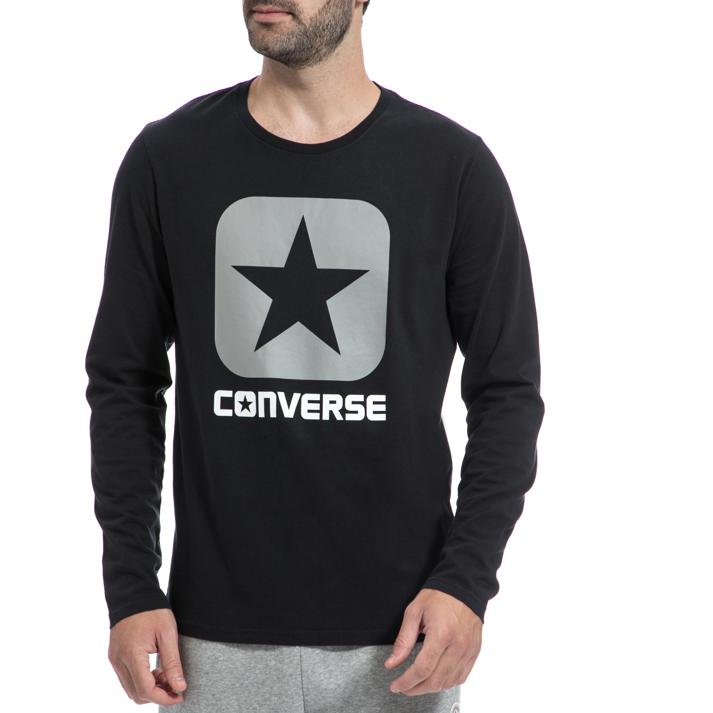 CONVERSE - Ανρική μπλούζα CONVERSE μαύρη ανδρικά ρούχα αθλητικά φούτερ μακρυμάνικα