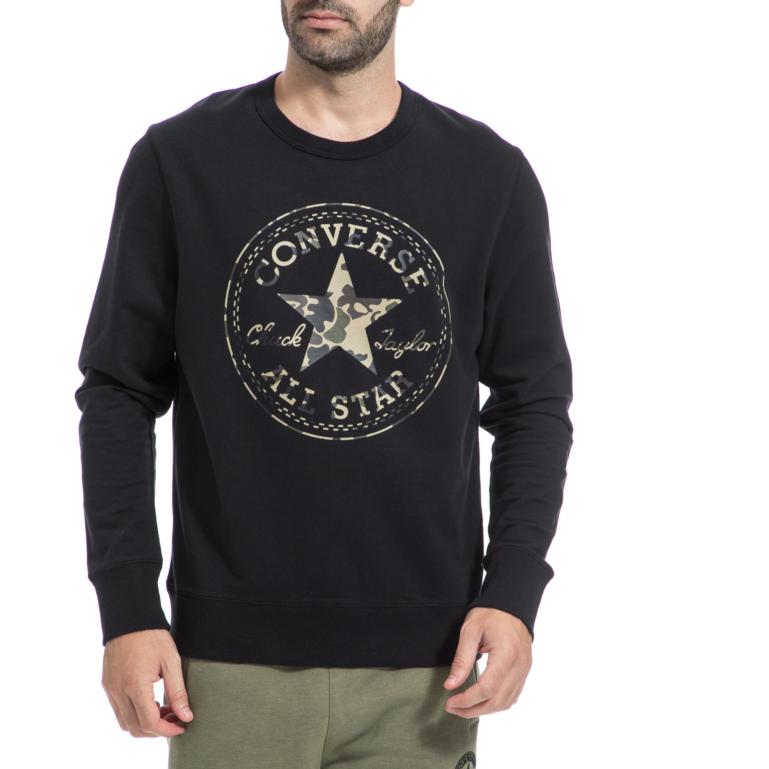 CONVERSE - Ανρικό φούτερ CONVERSE μαύρο ανδρικά ρούχα αθλητικά φούτερ μακρυμάνικα