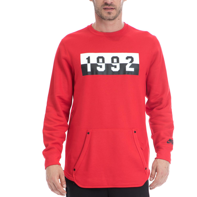 NIKE - Αντρική μπλούζα NIKE κόκκινη ανδρικά ρούχα αθλητικά φούτερ μακρυμάνικα