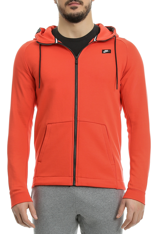 NIKE - Ανδρική φούτερ ζακετα Nike SW MODERN HOODIE FZ FT κόκκινη ανδρικά ρούχα αθλητικά φούτερ μακρυμάνικα