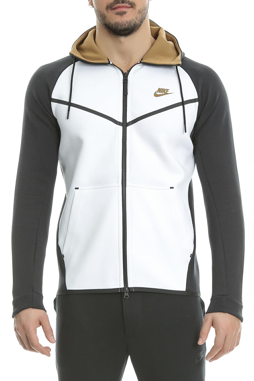 NIKE - Ανδρική ζακέτα Nike SW TCH FLC WR HOODIE FZ λευκή - μαύρη ανδρικά ρούχα αθλητικά φούτερ μακρυμάνικα